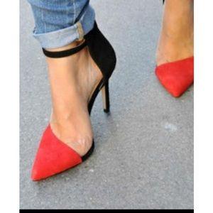 Zara color block red black taupe suede heel 7.5 38